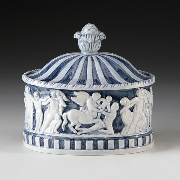 Greek Gods Ceramic Decorative Box Oval Ships Free