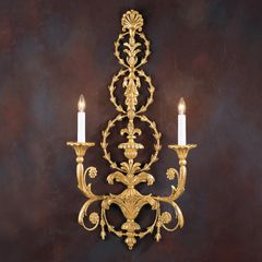 Adam Style Sconce Wood & Iron Handmade in Italy Ships Free