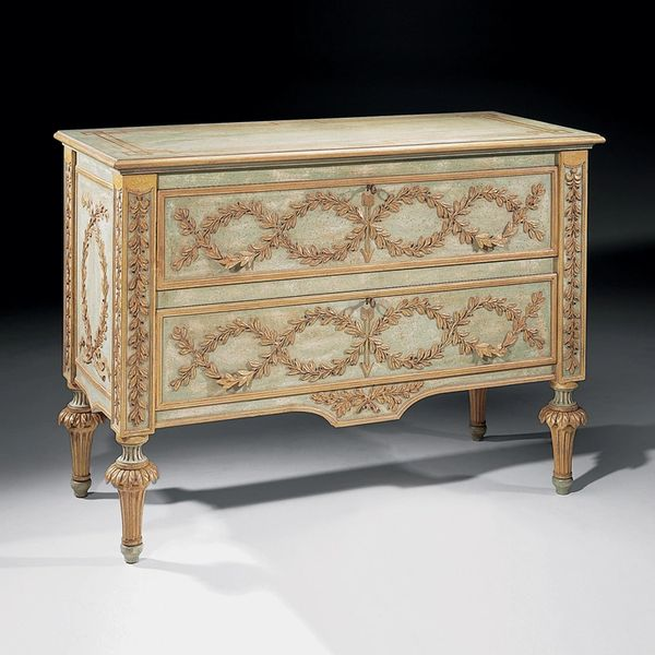 Baroque Chest of Drawers with Antiqued Gold Leaf Swags Ships Free