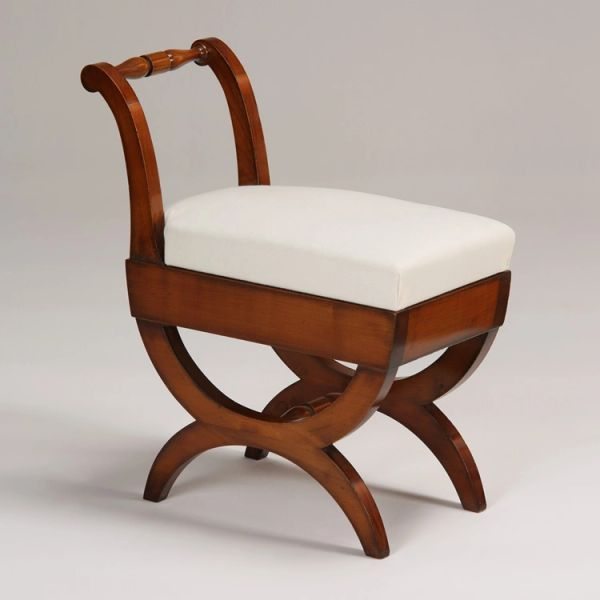 Sleigh Stool with Cherry Wood Finish and White Muslin Upholstery Ships Free