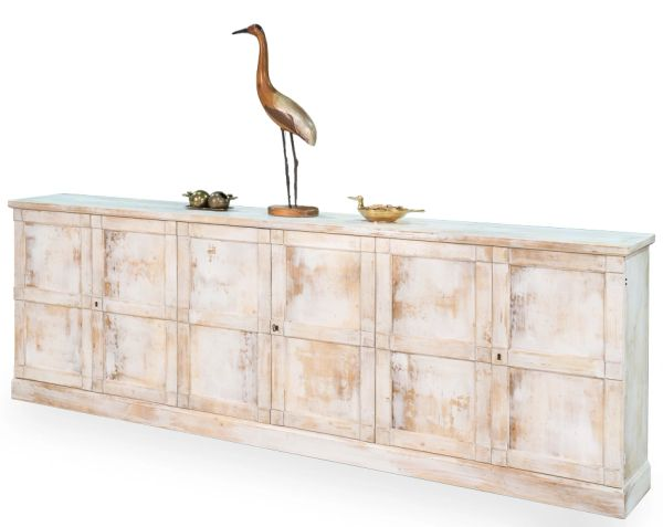 Long Buffet Table Pine Wood w/ Distressed White Finish