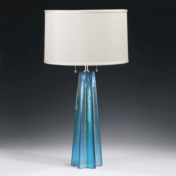 Bohemian Venetian Glass Lamp Blue Star