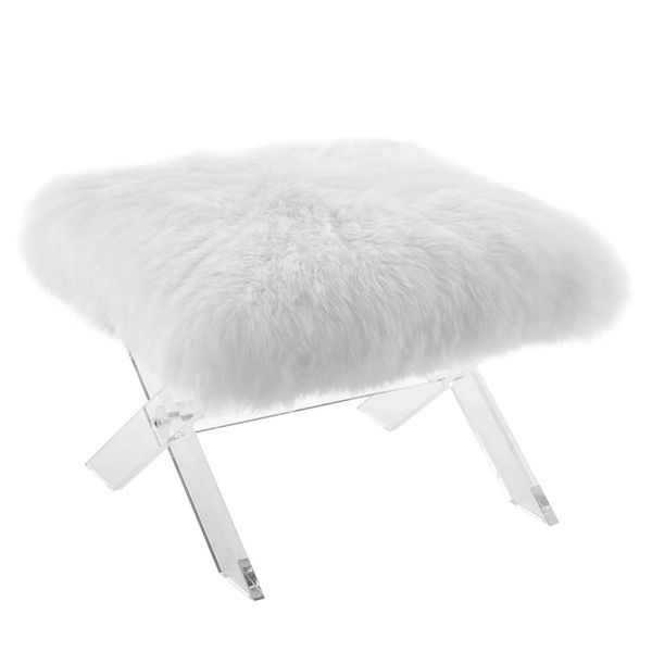 Sheepskin Ghost Bench Clear White Free Ship New Modern