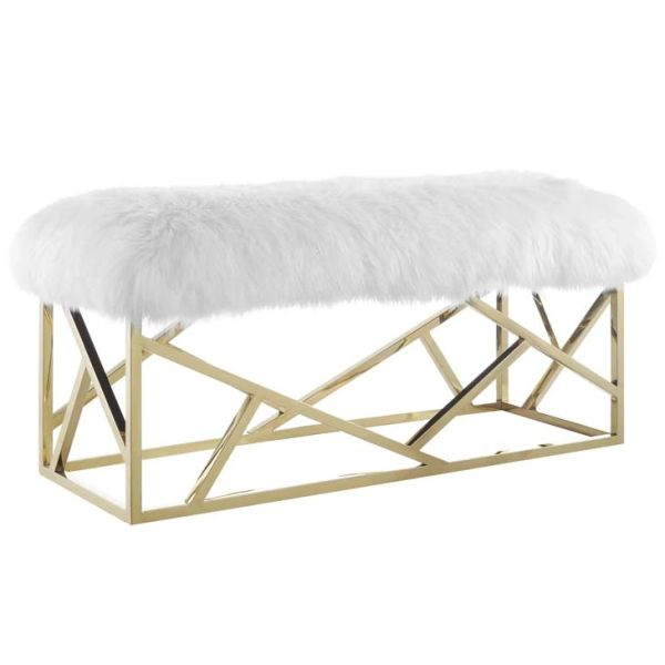Sheepskin Bench in Gold/White Free Ship Transitional Spaces