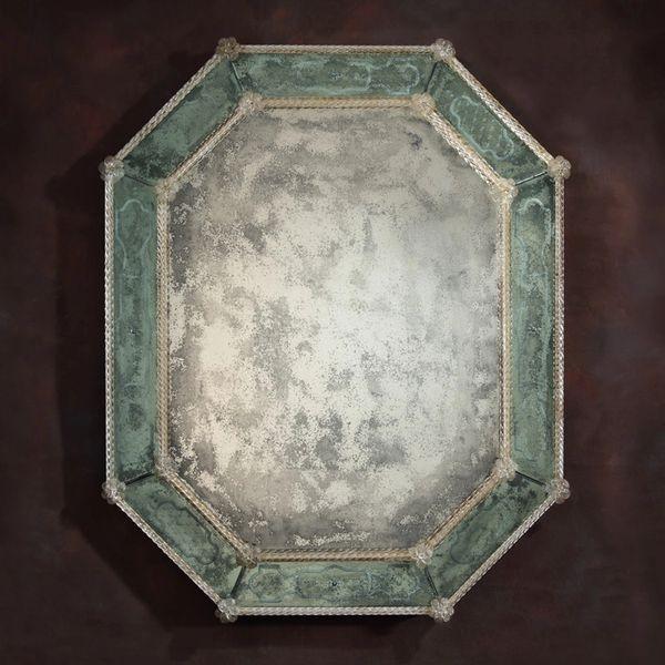 Antiqued Venetian Glass Mirror in Octagon Shape