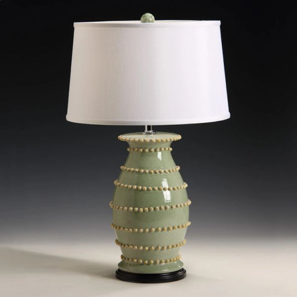 Green Pom Pom Lamp with Black Wood Base