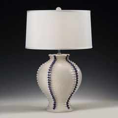 Round Lamp with Raised Vertical Trim in Dark Blue