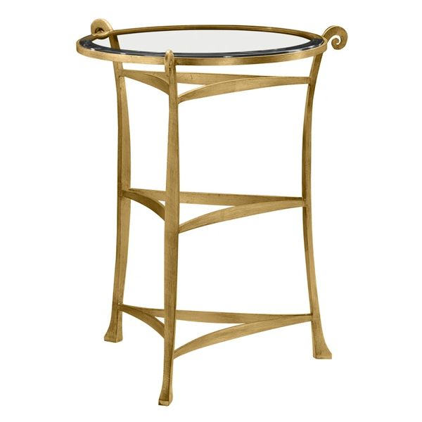 Wrought Iron Side Table with Goldleaf finish & Beveled Glass
