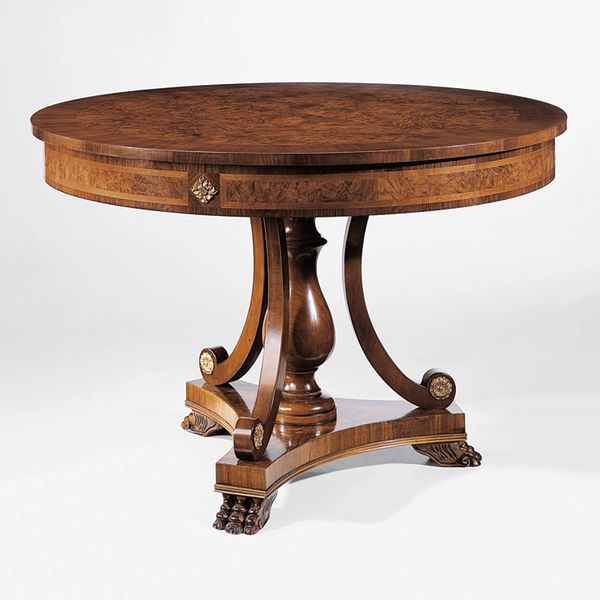 Biedermeier Style Round Wood Table with Olive and Ash Burl