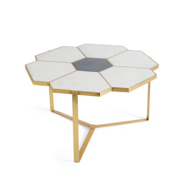 Palladium Coffee Table Cocktail Granite Marble Polished Brass Free Ship