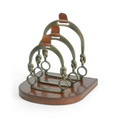 Equestrian Letter Rack Holder Leather Brass