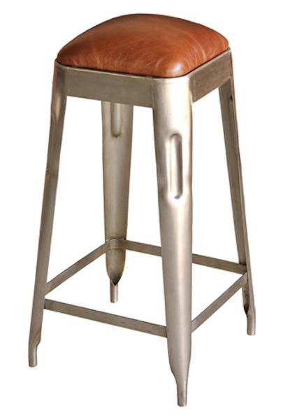Industrial Counter Stool with Leather Seat