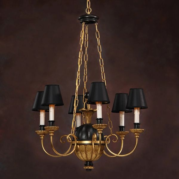 Directoire Chandelier Gold Leaf and Black