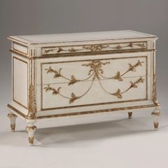 Large French Chest Neoclassic White Metal Leaf