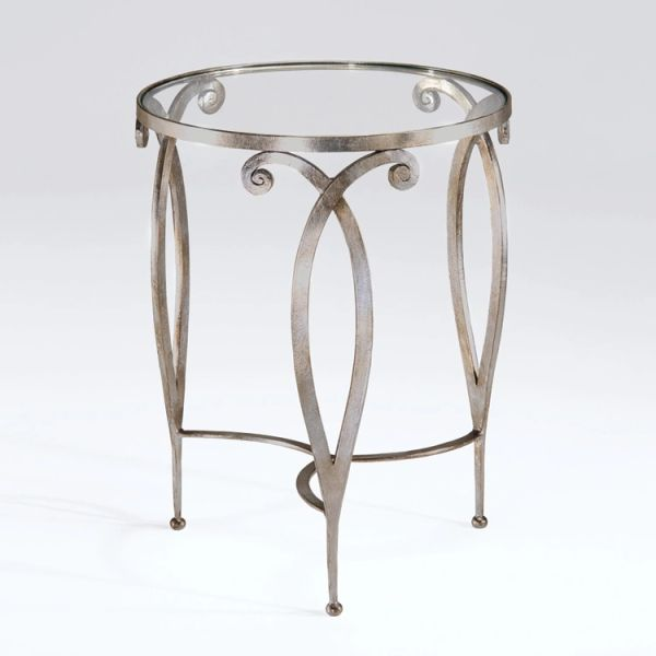 Side Table Scrolled Wrought Iron Antiqued Contemporary Silver