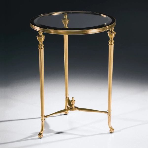 Traditional Accent Table with Glass Top Brass