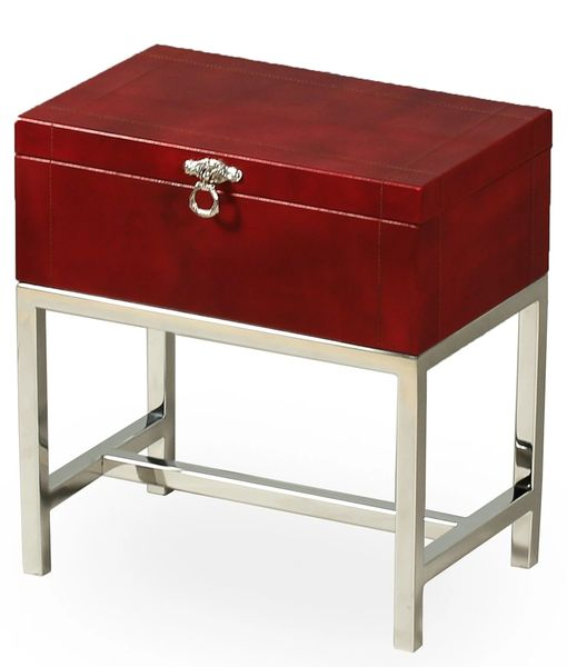 Leather Stainless Side Table Trunk