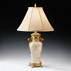Eggshell Lamp Brass Trim Fabric Shade