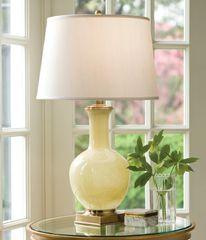 Yellow Glass Lamp Hand-blown Fabric Shade