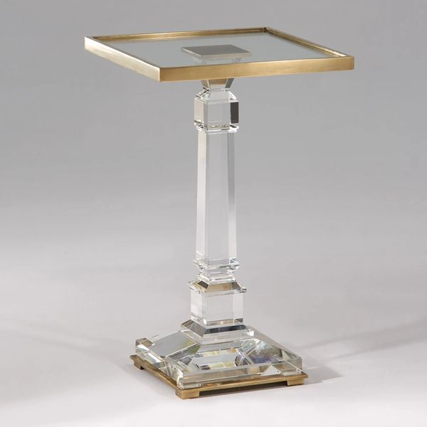 Pedestal Table Crystal & Brass Square