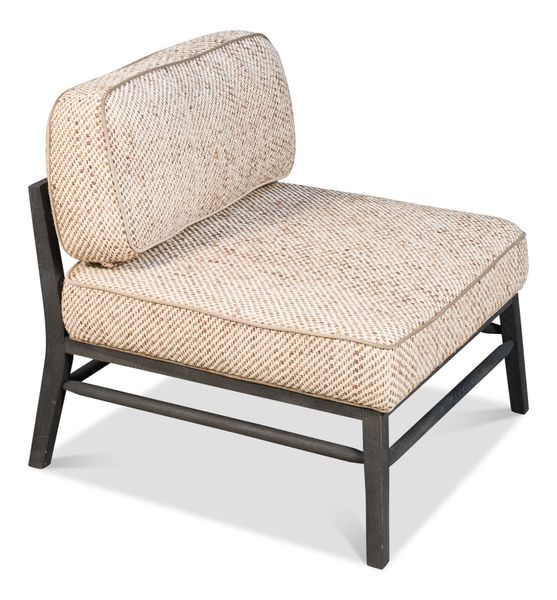 Neutral Settee w/ Woven Fabric & Smoked Oak