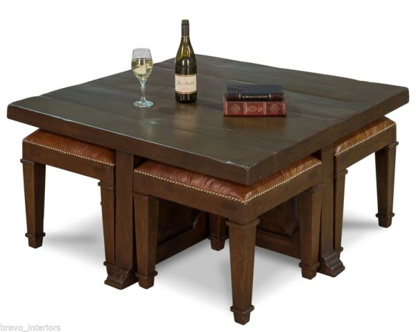 Coffee Table Set w/ 4 Leather Stools