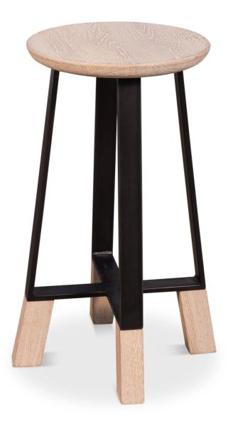 Modern Counter Stool Oak & Steel Minimalist