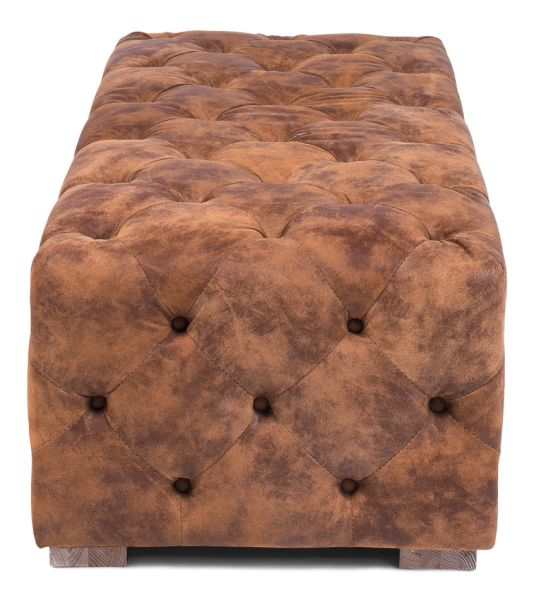 Tufted Ottoman w/ Distressed Leather in Brown