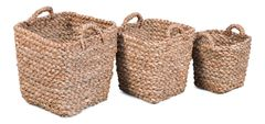 Basket Set of 3 Woven Fiber Natural Color