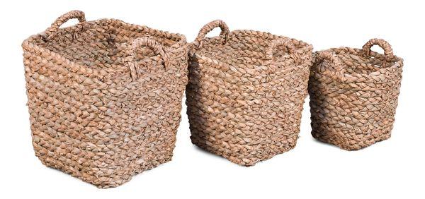 Basket Set of 3 Woven Fiber Natural Color
