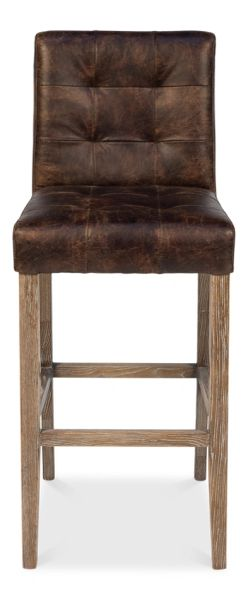Leather Bar Stool Tufted Distressed Dark Brown