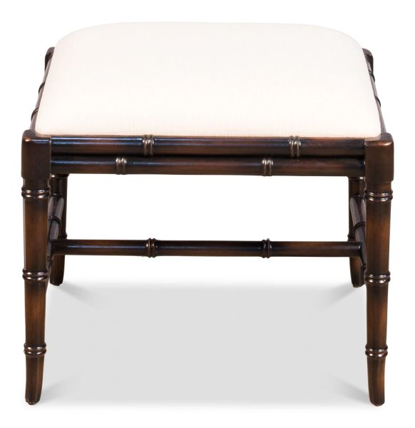 Bamboo Stool Ottoman Ebonized Finish