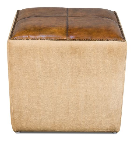 Safari Ottoman Pouf in Leather & Canvas