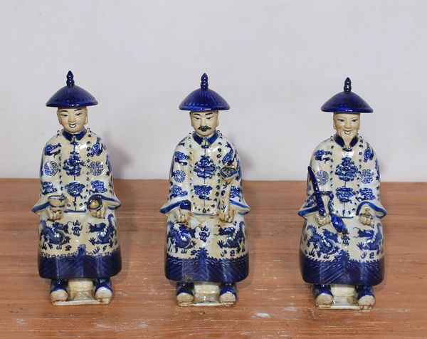 Blue and White Sitting Porcelain Figurines