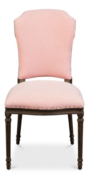 Side Chair Dining Pink Fabric Light Set of 2