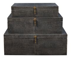 Nesting Boxes Set of 3 Shagreen Leather