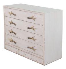 Beachy Antlers Cabinet Dresser
