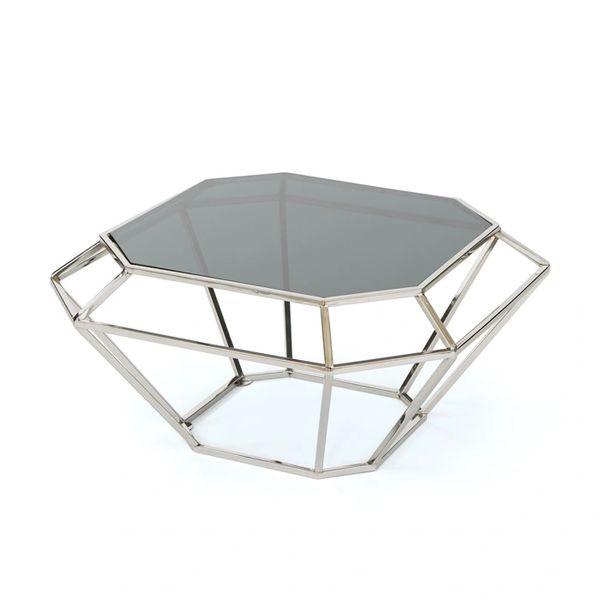 Modern Coffee Table Geometrical Glass & Iron