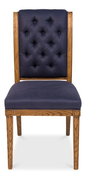 Side Chair in Indigo Linen Set of 2