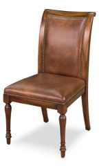 Side Chair Dining Brown Leather Set of 2
