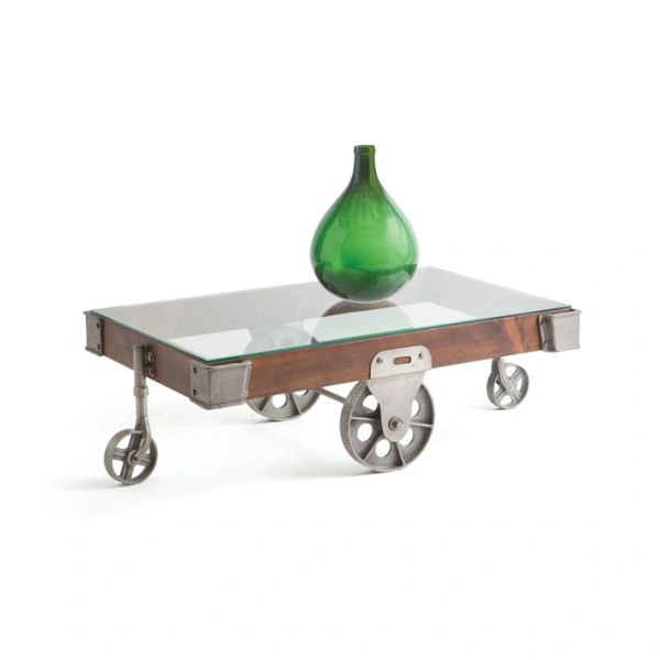 Coffee Table with Casters Industrial Modern