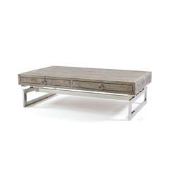 Rectangular Coffee Table with Metal Base