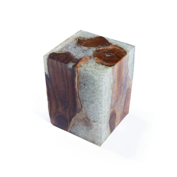 Cube Stool in Resin Crystal & Wood