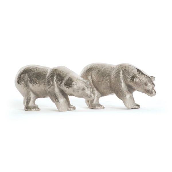Bear Sculpture Set of 2 in Silver