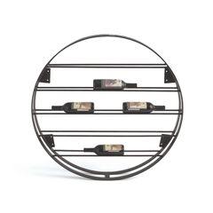 Round Wine Rack Modern Black Iron