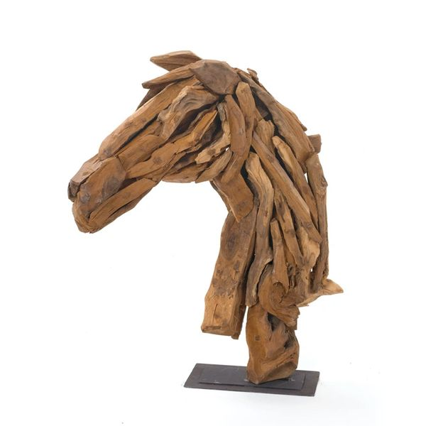 Horse Sculpture Wooden on Iron Stand