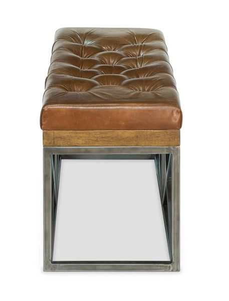Double Bench Leather Tufted w/ Iron Base