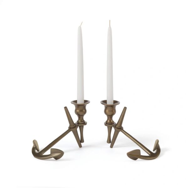Anchor Candlesticks Set of 2 in Brass