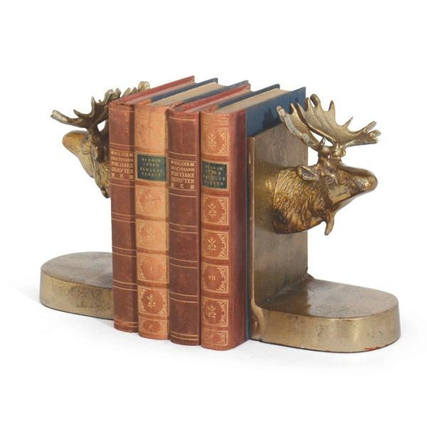 Moose Bookends Set of 2 in Brass