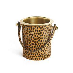 Leopard Ice Bucket Wine Chiller Brass